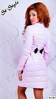 Курточка женская удлиненная ,сзади бантик, цвет белый, черный, малина, розовый ВШ ,ОП № 590-59