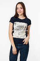 Женская футболка с серебристым принтом Brooklyn цвет темно-синий p.44-46 Gusse 5749 SS22-1