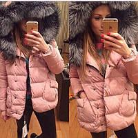 Куртка зимняя с мехом, соостав синтепон 200, Розовый, белый, черный, персиковый, мех натурал ля .вш№ Прованс