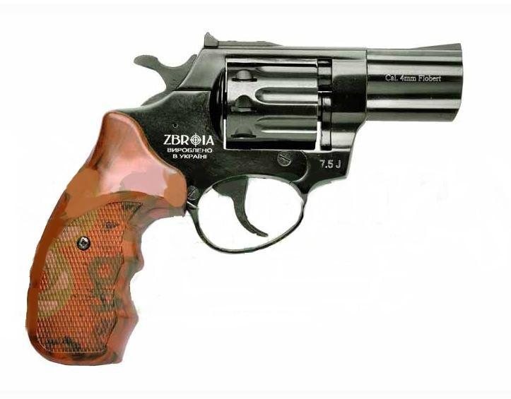 """Револьвер Profi 2.5"""" чёрный/пластик под дерево. Револьверы под патрон Флобера."""