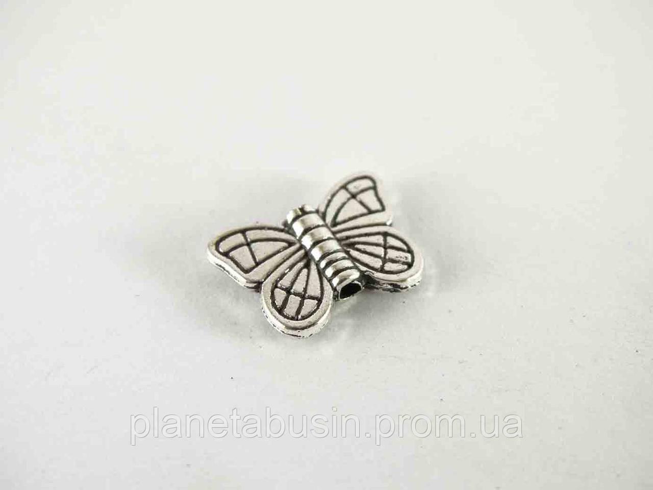 Бусины Серебряная бабочка 10шт, размер 15х10мм, отверстие 1мм