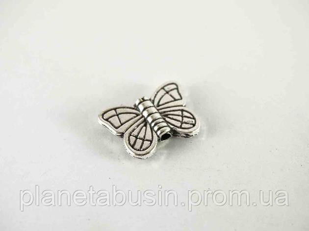 Бусины Серебряная бабочка 10шт, размер 15х10мм, отверстие 1мм, фото 2