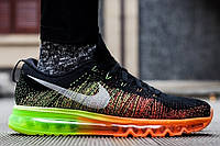 Женские кроссовки Nike Air Max Flyknit Black/Green/Orange