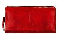 Женский кожаный кошелёк-клатч Gato Negro Discovery Catswill GN280 Red