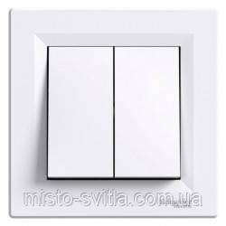 Переключатель 2-клавишный (выключатель проходной), белый, Sсhneider Electric Asfora Шнайдер электрик Асфора