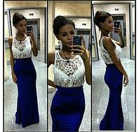 Платье вечернее, верх кружево. низ кристалл- синий, красный, эллектрик ЛЯ № 3664