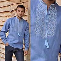Голубая вышиванка льняная мужская
