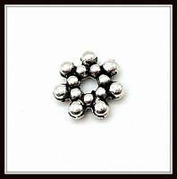 Спейсер, рондель метал., серебро (диам. 0,7 см) 60 шт в уп.