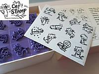 "Набор из 12 штампов ""Cats"" Котики дерево-резина для декора,скрапбукинга. Пр-ль Корея, фото 1"