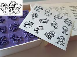 """Набор из 12 штампов """"Cats"""" Котики дерево-резина для декора,скрапбукинга. Пр-ль Корея"""