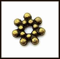 Спейсер, рондель метал., бронза (диам. 0,7 см) 60 шт в уп.