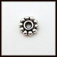 Спейсер, рондель метал., серебро (диам. 0,5 см) 60 шт в уп.