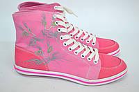 """Высокие женские кеды """"Коты"""" IK-545 (розовый+коралл джинс), фото 1"""