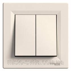 Вимикач 2-клавішний кнопковий, крем, Sсhneider Electric Asfora Шнайдер електрик Асфора