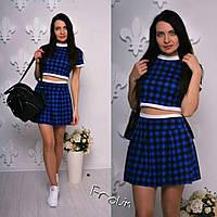 молодёжный костюм двойка юбка и топ в разных цветах
