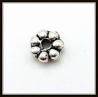 Спейсер, рондель метал., серебро (диам. 0,5 см) 125 шт в уп.