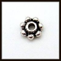 Спейсер, рондель метал., серебро (диам. 0,4 см) 125 шт в уп.