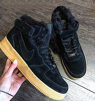 "Nike Air Force 1 Hi Suede - ""Black/Gum"" ( с мехом)"