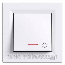 Переключатель с подсветкой (выключатель проходной), белый, Sсhneider Electric Asfora Шнайдер электрик Асфора