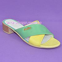 Шлепанцы женские кожаные цветные, на небольшом каблуке