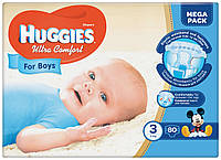 Подгузники Huggies Ultra Comfort для мальчиков 3 (5-9 кг) 80 шт.