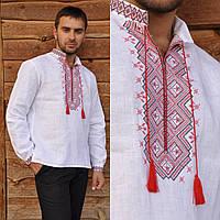 Белая вышиванка для мужчин с длинным рукавом и воротником-стойкой, фото 1