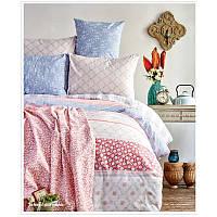 Набор постельное белье с покрывалом пике Karaca Home - Lunetta pembe евро