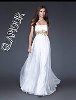 Платье вечернее длинное, Шифон + трикотажная подкладка + украшение, цвет белый Естил № 530-18