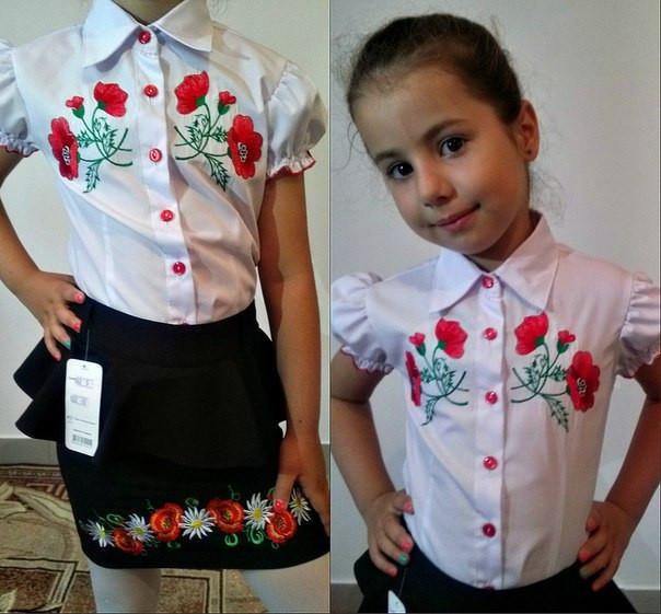 Блузка детская с вышивкой, ткань ХЕБЕШНАЯ ТКАНЬ РУБАШКА, 2 расцветки, супер качество  ММ № 611 - ZAKKAZZ в Одессе