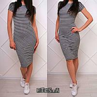 Женское летнее облегающее платье в полоску в разных цветах