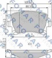 Колодки тормозные задние FOMAR 912381