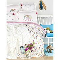 Набор постельное белье с покрывалом пике Karaca Home - Nora  multi jacquard евро