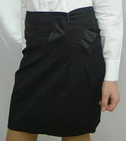 Юбка школьная подростковая, ткань чёрная тиар синяя мадонна супер качество мм449