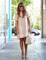 Интересное свободное пляжное платье из льна , цвет ьна на выбор, розовое, пудровое, голубое, бирюза