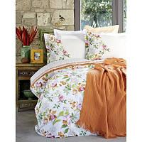 Набор постельное белье с покрывалом пике Karaca Home - Paradise orange jacquard евро