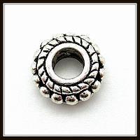 Спейсер, рондель метал., серебро (диам. 0,8 см) 35 шт в уп.