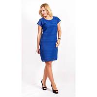 Голубое молодежное платье с прошвой