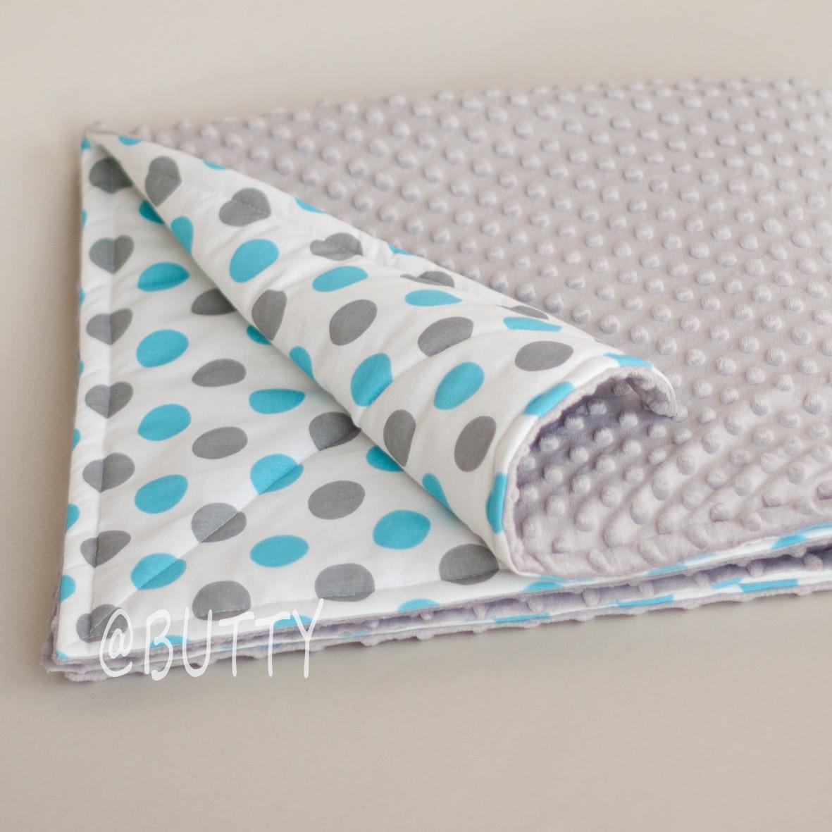 Одеяло, плед для новорожденного, серо-голубые горохи