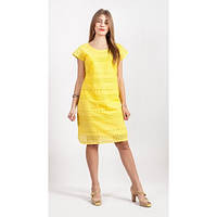 Яркое желтое молодежное платье с прошвой