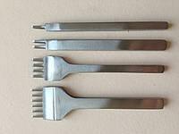Набор вилочных просечек 1-2-4-6 зубьев, растояние между центрами зубьев 4 мм,  артикул СК 6024