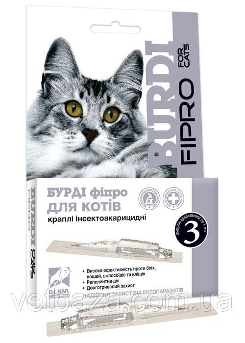 Капли Бурди Фипро для кошек №3 O.L.KAR *