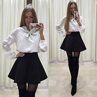 Костюм женский двойка, Блуза - крепшифон Юбка - габардин Верх - белый Юбка - красный, черный ля № ладья