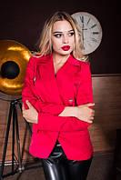 Пиджак женский, ткань Мемори на подкладке Красный, черный, электрик, фото реал ал №08198