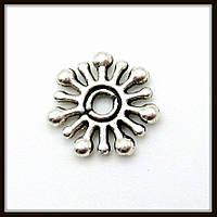 Спейсер, рондель метал., серебро (диам. 1 см) 50 шт в уп.