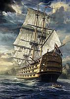 Алмазная вышивка Мощный фрегат в океане 40 х 50 см (арт. FS496)