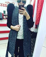 кашемировое пальто, пальто из букле, с натуральным мехом, карманами, на молнии  2 цвета вш №884