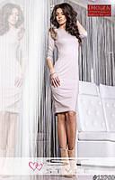 Платье женское прямое, ткань Французский трикотаж, натуральный мех енот, 3 цвета вш №815