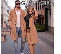 Пальто женское не утепленное, ткань кашемир, цвета:  рыжий, размер 48 супер качество естил №503