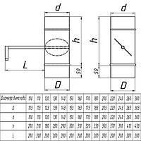 Дроссель-клапан для дымохода из нержавеющей стали (одностенный) d 100мм s 1мм
