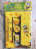 Детский канцелярский набор, 7 предметов, Губка Боб